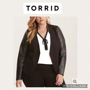 Torrid faux leather sleeve blazer